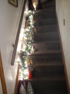 trees and lights up the stairs...