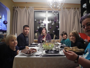 ready to gobble up the wonderful dinner...