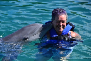 dolphin kissing me while I laughed...