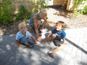 boys with their stone from Auntiy Cyndi and Uncle Ron...