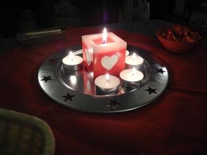 lit candles...