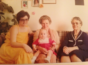 my Grandma, Mom, Crystal and I...