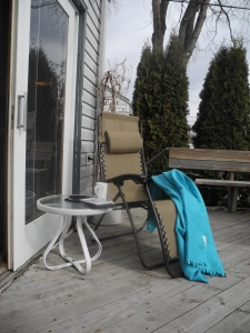 lounging on the deck...