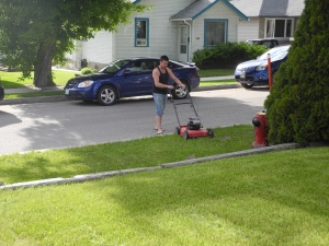 mowing the grass on Father's Day...