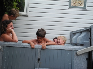 kids having a hot tub...