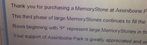 email re stone placement...