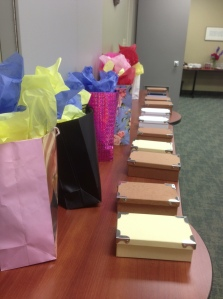 gifts and boxes with appreciation notes...