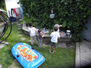 fun blowing bubbles and jumping in the boat ball pit...