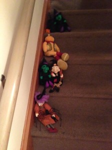 witches gathered up the  stairs...