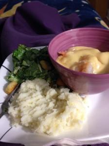 shrimp, garlic mashed potatoes and Caesar salad...