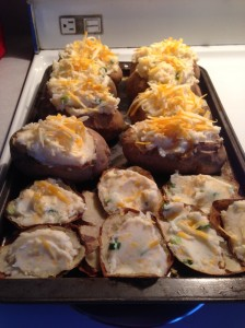 twice stuffed potatoes, ready for the oven...