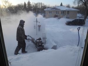 snowblowing sidewalk...
