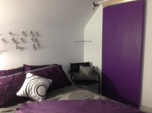 purple door in the bedroom...