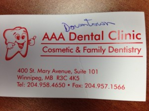business card for a great dentist...