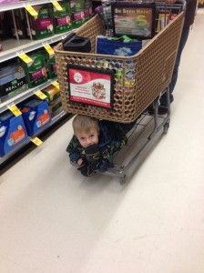 riding under the grocery cart...