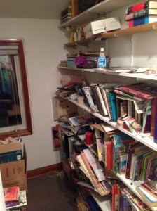 hall book shelves...