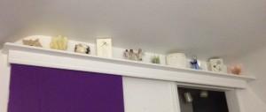 shelf above the sliding door...