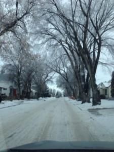 hoarfrost down the street...