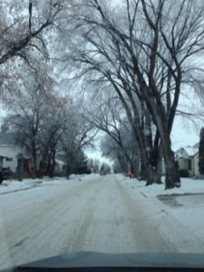 hoarfrost down the street...