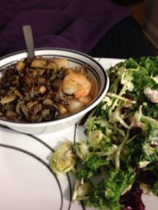 shrimp, wild rice, mushrooms, kale and broccoli salad...